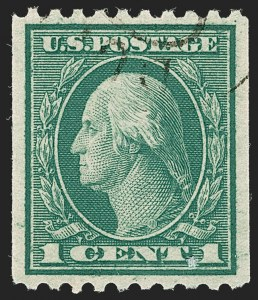 Sale Number 1202, Lot Number 2518, 1915 Perf 10 Vertical Rotary Press Coils, Single-Line Watermark (Scott 448-449)1c Green, Coil (448), 1c Green, Coil (448)
