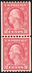 Sale Number 1202, Lot Number 2525, 1915 Perf 10 Vertical Rotary Press Coils, Single-Line Watermark (Scott 448-449)2c Carmine, Ty. III, Coil (450), 2c Carmine, Ty. III, Coil (450)