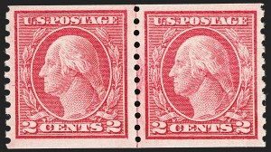 Sale Number 1202, Lot Number 2536, 1915 Perf 10 Horizontal Rotary Press Coils, Single-Line Watermark (Scott 450-459)2c Carmine Rose, Ty. I, Coil (453), 2c Carmine Rose, Ty. I, Coil (453)
