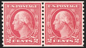 Sale Number 1202, Lot Number 2537, 1915 Perf 10 Horizontal Rotary Press Coils, Single-Line Watermark (Scott 450-459)2c Carmine Rose, Ty. I, Coil (453), 2c Carmine Rose, Ty. I, Coil (453)