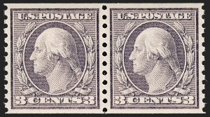 Sale Number 1202, Lot Number 2554, 1915 Perf 10 Horizontal Rotary Press Coils, Single-Line Watermark (Scott 450-459)3c Violet, Coil (456), 3c Violet, Coil (456)