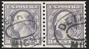Sale Number 1202, Lot Number 2557, 1915 Perf 10 Horizontal Rotary Press Coils, Single-Line Watermark (Scott 450-459)3c Violet, Coil (456), 3c Violet, Coil (456)