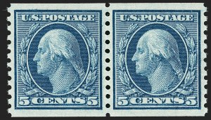 Sale Number 1202, Lot Number 2566, 1915 Perf 10 Horizontal Rotary Press Coils, Single-Line Watermark (Scott 450-459)5c Blue, Coil (458), 5c Blue, Coil (458)