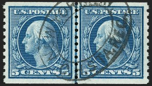 Sale Number 1202, Lot Number 2568, 1915 Perf 10 Horizontal Rotary Press Coils, Single-Line Watermark (Scott 450-459)5c Blue, Coil (458), 5c Blue, Coil (458)