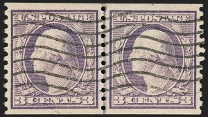 Sale Number 1202, Lot Number 2616, 1916-18 Perf 10 Horizontal Rotary Press Coils, Unwatermarked (Scott 490-497)3c Violet, Ty. I, Coil (493), 3c Violet, Ty. I, Coil (493)