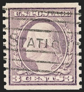 Sale Number 1202, Lot Number 2618, 1916-18 Perf 10 Horizontal Rotary Press Coils, Unwatermarked (Scott 490-497)3c Violet, Ty. I, Coil (493), 3c Violet, Ty. I, Coil (493)