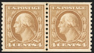 Sale Number 1202, Lot Number 2624, 1916-18 Perf 10 Horizontal Rotary Press Coils, Unwatermarked (Scott 490-497)4c Orange Brown, Coil (495), 4c Orange Brown, Coil (495)