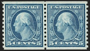 Sale Number 1202, Lot Number 2632, 1916-18 Perf 10 Horizontal Rotary Press Coils, Unwatermarked (Scott 490-497)5c Blue, Coil (496), 5c Blue, Coil (496)