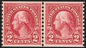 Sale Number 1202, Lot Number 2670, 1923-29 Rotary Press Coils (Scott 597-599A)2c Carmine, Joint Line Pair, Ty. I, II (599-599A), 2c Carmine, Joint Line Pair, Ty. I, II (599-599A)
