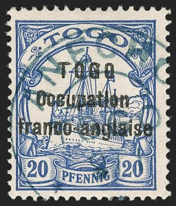 Sale Number 1203, Lot Number 100, French Togo - Second PrintingTOGO (French), 1915, 20pf Ultramarine, Sansane Mangu Printing (167; Yvert 46), TOGO (French), 1915, 20pf Ultramarine, Sansane Mangu Printing (167; Yvert 46)