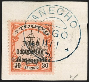 Sale Number 1203, Lot Number 102, French Togo - Second PrintingTOGO (French), 1915, 30pf Orange & Black on Salmon, Sansane Mangu Printing (169; Yvert 48), TOGO (French), 1915, 30pf Orange & Black on Salmon, Sansane Mangu Printing (169; Yvert 48)