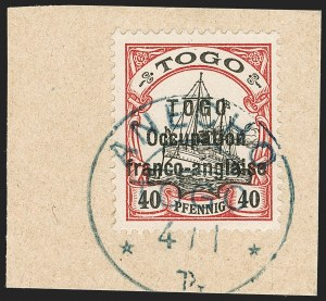 Sale Number 1203, Lot Number 104, French Togo - Second PrintingTOGO (French), 1915, 40pf Lake & Black, Sansane Mangu Printing (170; Yvert 49), TOGO (French), 1915, 40pf Lake & Black, Sansane Mangu Printing (170; Yvert 49)