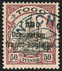 Sale Number 1203, Lot Number 106, French Togo - Second PrintingTOGO (French), 1915, 50pf Purple & Black on Salmon, Sansane Mangu Printing (171; Yvert 50), TOGO (French), 1915, 50pf Purple & Black on Salmon, Sansane Mangu Printing (171; Yvert 50)