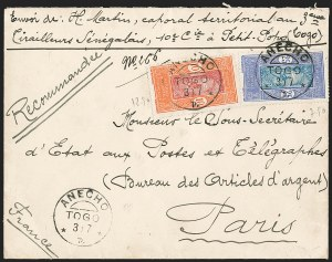 Sale Number 1203, Lot Number 107, French Togo - Postal History (by Date)TOGO (French), Dahomey Used in Togo, 1913-17, 10c Orange Red & Rose, 25c Ultramarine & Deep Blue (47, 54; Yvert 47, 50), TOGO (French), Dahomey Used in Togo, 1913-17, 10c Orange Red & Rose, 25c Ultramarine & Deep Blue (47, 54; Yvert 47, 50)