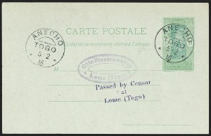 Sale Number 1203, Lot Number 109, French Togo - Postal History (by Date)TOGO (French), Dahomey, Used in Togo, 5c Postal Card, TOGO (French), Dahomey, Used in Togo, 5c Postal Card