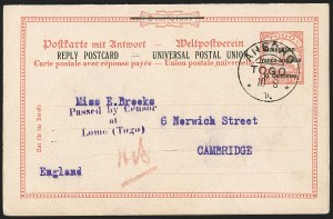 Sale Number 1203, Lot Number 111, French Togo - Postal History (by Date)TOGO (French), 1915, 10c on 10pf Postal Reply Card, TOGO (French), 1915, 10c on 10pf Postal Reply Card
