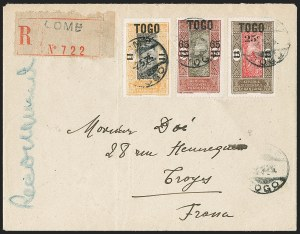 Sale Number 1203, Lot Number 118, French Togo - Postal History (by Date)TOGO (French), 1922-25, 25c on 15c, 25c on 5fr, 65c on 45c Surcharges (210, 212, 214; Yvert 119, 121-122), TOGO (French), 1922-25, 25c on 15c, 25c on 5fr, 65c on 45c Surcharges (210, 212, 214; Yvert 119, 121-122)