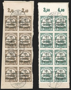 "Sale Number 1203, Lot Number 19, British Togo - Second (Narrow) SettingTOGO (British), 1914, -1/2p on 3pf Brown, 1p on 5pf Green, ""TOG"" Error, Second Setting (46b-47b; SG H27a-H28a; Gibbs 27b-28b), TOGO (British), 1914, -1/2p on 3pf Brown, 1p on 5pf Green, ""TOG"" Error, Second Setting (46b-47b; SG H27a-H28a; Gibbs 27b-28b)"