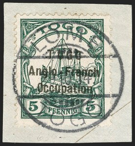 Sale Number 1203, Lot Number 21, British Togo - Second (Narrow) SettingTOGO (British), 1914, 5pf Green, Second Setting (49; SG H15; Gibbs 15), TOGO (British), 1914, 5pf Green, Second Setting (49; SG H15; Gibbs 15)