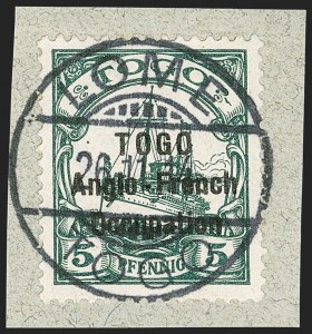 Sale Number 1203, Lot Number 22, British Togo - Second (Narrow) SettingTOGO (British), 1914, 5pf Green, Second Setting (49; SG H15; Gibbs 15), TOGO (British), 1914, 5pf Green, Second Setting (49; SG H15; Gibbs 15)