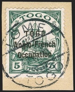 Sale Number 1203, Lot Number 23, British Togo - Second (Narrow) SettingTOGO (British), 1914, 5pf Green, Second Setting (49; SG H15; Gibbs 15), TOGO (British), 1914, 5pf Green, Second Setting (49; SG H15; Gibbs 15)