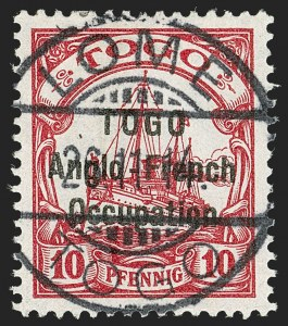 Sale Number 1203, Lot Number 24, British Togo - Second (Narrow) SettingTOGO (British), 1914, 10pf Carmine, Second Setting (50; SG H16; Gibbs 16), TOGO (British), 1914, 10pf Carmine, Second Setting (50; SG H16; Gibbs 16)