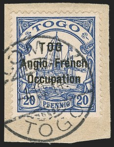 "Sale Number 1203, Lot Number 25, British Togo - Second (Narrow) SettingTOGO (British), 1914, 20pf Ultramarine, ""TOG"" Error, Second Setting (51a; SG H17a; Gibbs 17a), TOGO (British), 1914, 20pf Ultramarine, ""TOG"" Error, Second Setting (51a; SG H17a; Gibbs 17a)"