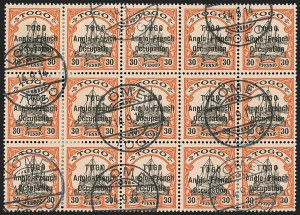 Sale Number 1203, Lot Number 26, British Togo - Second (Narrow) SettingTOGO (British), 1914, 30pf Orange & Black on Salmon, Second Setting (53; SG H19; Gibbs 19), TOGO (British), 1914, 30pf Orange & Black on Salmon, Second Setting (53; SG H19; Gibbs 19)