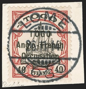 Sale Number 1203, Lot Number 27, British Togo - Second (Narrow) SettingTOGO (British), 1914, 40pf Lake & Black, Second Setting (54; SG H20; Gibbs 20), TOGO (British), 1914, 40pf Lake & Black, Second Setting (54; SG H20; Gibbs 20)