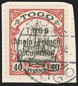 Sale Number 1203, Lot Number 28, British Togo - Second (Narrow) SettingTOGO (British), 1914, 40pf Lake & Black, Second Setting (54; SG H20; Gibbs 20), TOGO (British), 1914, 40pf Lake & Black, Second Setting (54; SG H20; Gibbs 20)