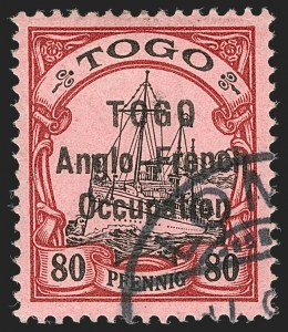 Sale Number 1203, Lot Number 31, British Togo - Second (Narrow) SettingTOGO (British), 1914, 80pf Lake & Black on Rose, Second Setting (56; SG H22; Gibbs 22), TOGO (British), 1914, 80pf Lake & Black on Rose, Second Setting (56; SG H22; Gibbs 22)
