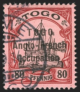 Sale Number 1203, Lot Number 32, British Togo - Second (Narrow) SettingTOGO (British), 1914, 80pf Lake & Black on Rose, Second Setting (56; SG H22; Gibbs 22), TOGO (British), 1914, 80pf Lake & Black on Rose, Second Setting (56; SG H22; Gibbs 22)
