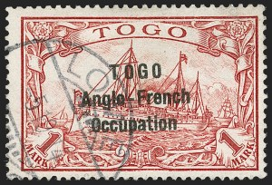 Sale Number 1203, Lot Number 34, British Togo - Second (Narrow) SettingTOGO (British), 1914, 1m Carmine, Second Setting (57; SG H23; Gibbs 23), TOGO (British), 1914, 1m Carmine, Second Setting (57; SG H23; Gibbs 23)