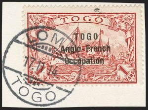 Sale Number 1203, Lot Number 35, British Togo - Second (Narrow) SettingTOGO (British), 1914, 1m Carmine, Second Setting (57; SG H23; Gibbs 23), TOGO (British), 1914, 1m Carmine, Second Setting (57; SG H23; Gibbs 23)