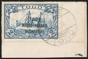 Sale Number 1203, Lot Number 36, British Togo - Second (Narrow) SettingTOGO (British), 1914, 2m Blue, Second Setting (58; SG H24; Gibbs 24), TOGO (British), 1914, 2m Blue, Second Setting (58; SG H24; Gibbs 24)