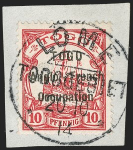 Sale Number 1203, Lot Number 40, British Togo - Individual SettingsTOGO (British), 1914, 10pf Carmine, First Setting (37 var; SG H3 var; Gibbs 3 var), TOGO (British), 1914, 10pf Carmine, First Setting (37 var; SG H3 var; Gibbs 3 var)