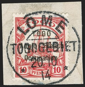 Sale Number 1203, Lot Number 41, British Togo - Individual SettingsTOGO (British), 1914, 10pf Carmine, First Setting (37 var; SG H3 var; Gibbs 3 var), TOGO (British), 1914, 10pf Carmine, First Setting (37 var; SG H3 var; Gibbs 3 var)
