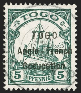 Sale Number 1203, Lot Number 42, British Togo - Individual SettingsTOGO (British), 1914, 5pf Green, First Setting (36 var; SG H2 var; Gibbs 2 var), TOGO (British), 1914, 5pf Green, First Setting (36 var; SG H2 var; Gibbs 2 var)