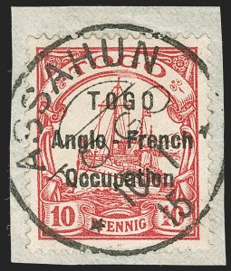 Sale Number 1203, Lot Number 43, British Togo - Individual SettingsTOGO (British), 1914, 10pf Carmine, Without Watermark, First Setting (37b; SG H3c; Gibbs 3c), TOGO (British), 1914, 10pf Carmine, Without Watermark, First Setting (37b; SG H3c; Gibbs 3c)