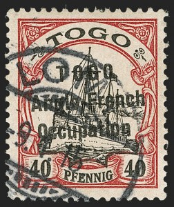 Sale Number 1203, Lot Number 48, British Togo - Individual SettingsTOGO (British), 1915, 40pf Lake & Black, Third Setting (64A; SG H32a; Gibbs 33), TOGO (British), 1915, 40pf Lake & Black, Third Setting (64A; SG H32a; Gibbs 33)