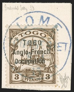 Sale Number 1203, Lot Number 54, British Togo - Individual SettingsTOGO (British), 1915, 3pf Brown, Third Setting (61 var; SG H29 var; Gibbs 29 var), TOGO (British), 1915, 3pf Brown, Third Setting (61 var; SG H29 var; Gibbs 29 var)