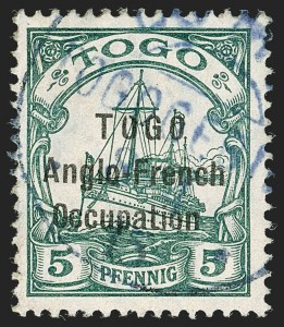 Sale Number 1203, Lot Number 56, British Togo - Individual SettingsTOGO (British), 1915, 5pf Green, Third Setting (62 var; SG H30 var; Gibbs 30 var), TOGO (British), 1915, 5pf Green, Third Setting (62 var; SG H30 var; Gibbs 30 var)