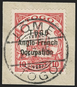 Sale Number 1203, Lot Number 57, British Togo - Individual SettingsTOGO (British), 1915, 10pf Carmine, Without Watermark, Third Setting (63 var; SG H31a var; Gibbs 31b var), TOGO (British), 1915, 10pf Carmine, Without Watermark, Third Setting (63 var; SG H31a var; Gibbs 31b var)