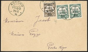 Sale Number 1203, Lot Number 78, French Togo - First PrintingTOGO (French), 1914, 5c on 3pf Brown, 10c on 5pf Green (151, 154; Yvert 23-24), TOGO (French), 1914, 5c on 3pf Brown, 10c on 5pf Green (151, 154; Yvert 23-24)