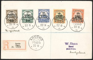 Sale Number 1203, Lot Number 80, French Togo - First PrintingTOGO (French), 1914, 5c on 3pf, 10c on 5pf, 20pf-30pf Yacht Overprints (153, 155, 158-160; Yvert 23b, 24a, 25-27), TOGO (French), 1914, 5c on 3pf, 10c on 5pf, 20pf-30pf Yacht Overprints (153, 155, 158-160; Yvert 23b, 24a, 25-27)