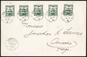 Sale Number 1203, Lot Number 86, French Togo - First PrintingTOGO (French), 1914, 10c on 5pf Green (155; Yvert 24a), TOGO (French), 1914, 10c on 5pf Green (155; Yvert 24a)