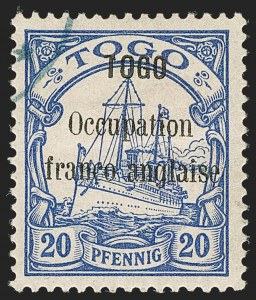 "Sale Number 1203, Lot Number 88, French Togo - First PrintingTOGO (French), 1914, 20pf Ultramarine, 3-1/2mm Between ""Togo"" and ""Occupation"" (158a; Yvert 25a), TOGO (French), 1914, 20pf Ultramarine, 3-1/2mm Between ""Togo"" and ""Occupation"" (158a; Yvert 25a)"
