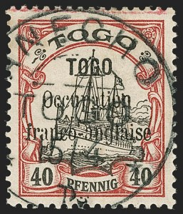 Sale Number 1203, Lot Number 92, French Togo - First PrintingTOGO (French), 1914, 40pf Lake & Black (161; Yvert 28), TOGO (French), 1914, 40pf Lake & Black (161; Yvert 28)