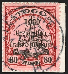Sale Number 1203, Lot Number 93, French Togo - First PrintingTOGO (French), 1914, 80pf Lake & Black (162; Yvert 29), TOGO (French), 1914, 80pf Lake & Black (162; Yvert 29)