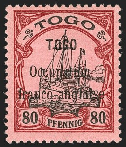 "Sale Number 1203, Lot Number 95, French Togo - First PrintingTOGO (French), 1914, 80pf Lake & Black, 3-1/2mm Between ""Togo"" and ""Occupation"" (162 var; Yvert 29a), TOGO (French), 1914, 80pf Lake & Black, 3-1/2mm Between ""Togo"" and ""Occupation"" (162 var; Yvert 29a)"